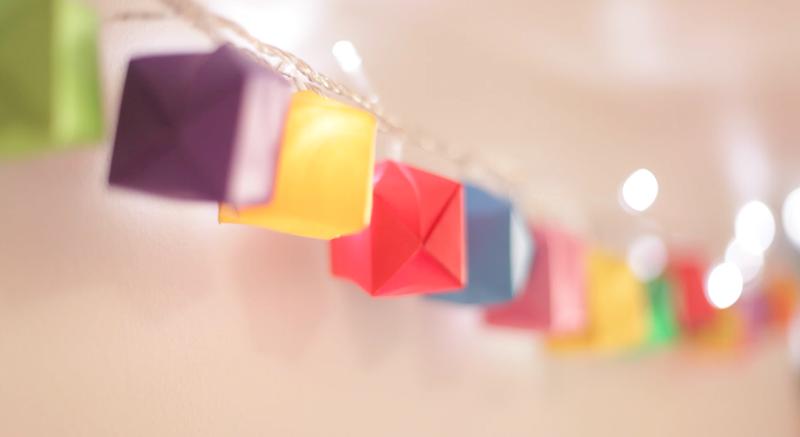 origami luz de natal